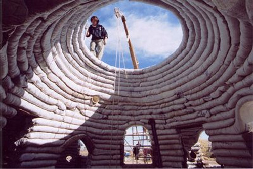 Superadobe construction