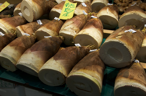 Bamboo shoots for sale in a market.