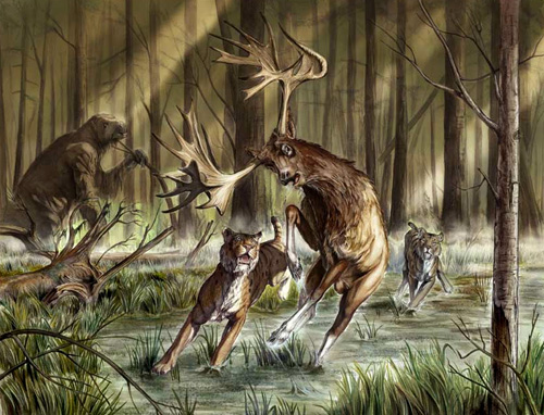 Artist's rendition of a Stag Moose being hunted by American Cheetah.